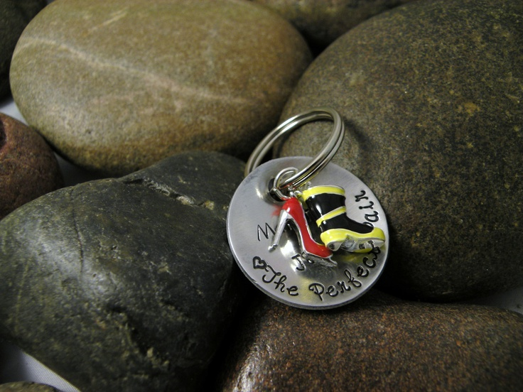 The Perfect Pair Key Chain Firefighter Boot by SayWhatCreations, $20.00..I think it is so cute!!