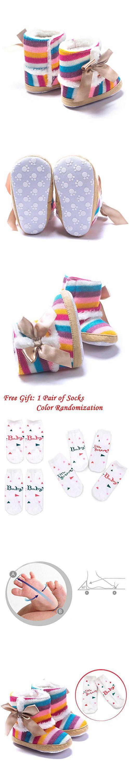 LIVEBOX Baby Multicolor Cotton Knit Premium Soft Sole Anti-Slip Warm Winter Infant Prewalker Toddler Snow Boots (L: 12~18 months)