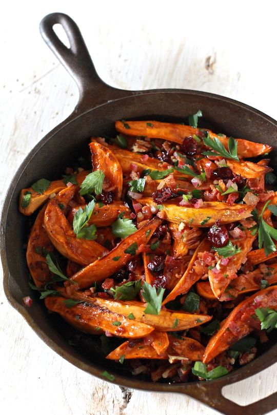 Roasted Sweet Potato Salad With Warm Bacon Apple Cider Dressing by TheNoshery.com #Thanksgiving #side #sweetpotato