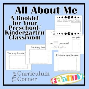 All About Me Booklet - a free booklet for your preschool or kindergarten classroom.  Includes many different pages from www.thecurriculumcornerfamily.com.