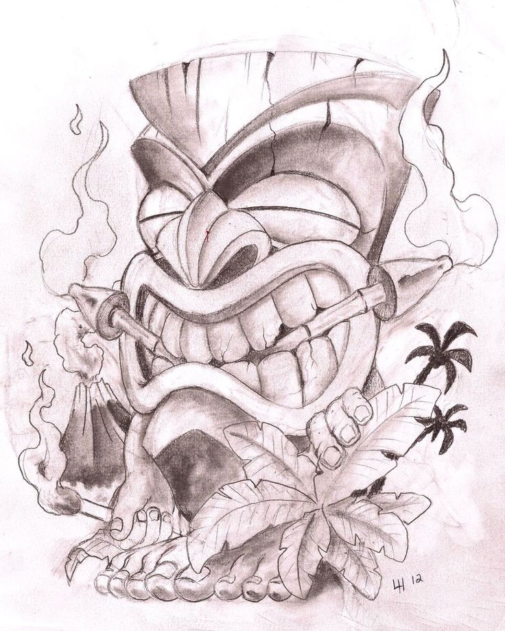Live Life With No Regrets Tattoo Sketches Drawing Art: Coloring - Tiki(s) & Monkies