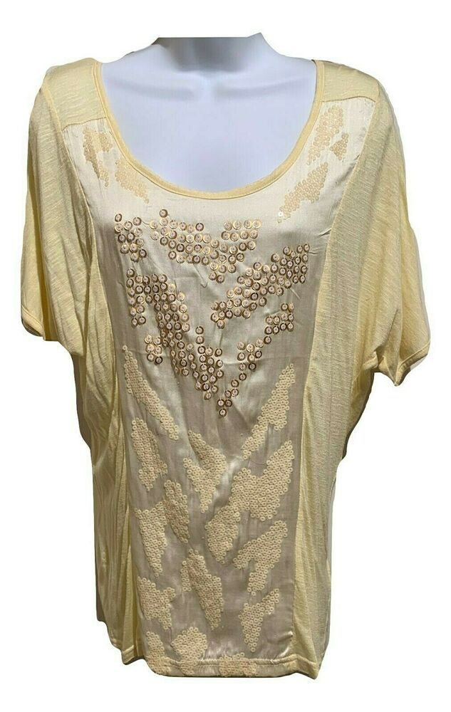 10c1dde1b Miss Me Size S Satin Sequin Front Top in Lemon JMT877 Lemon BUCKLE $68.00  #MissMe #Blouse