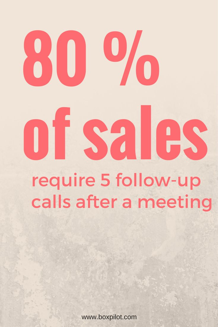80 of sales require 5 follow up calls after meeting