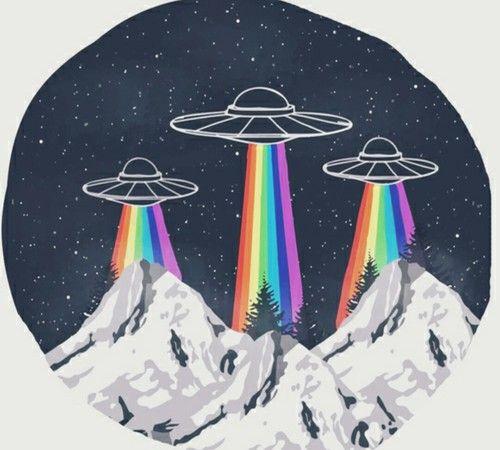 Imagen de alien, rainbow, and grunge