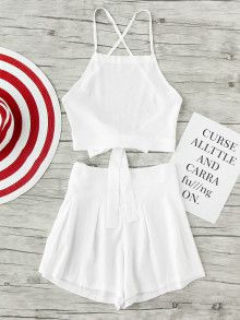 Criss Cross Bow Tie Open Back Crop Top And Shorts Set