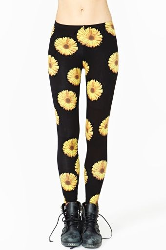 Daisy Leggings Nastygal Clothing $38 Yellow Flowers Black Background Tight 90's Grunge Pastel Goth
