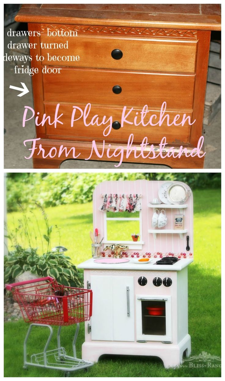 Upcycled Pink Play Kitchen From Nightstand, Bliss-Ranch.com