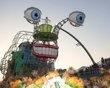 Sao Paulo Carnival.  Big floats and samba music