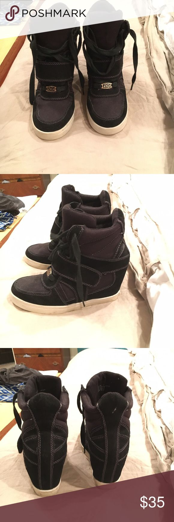 Zigi black wedge sneakers Great pair of wedge sneakers by Zigi. Only worn a couple times. Zigi Soho Shoes Sneakers