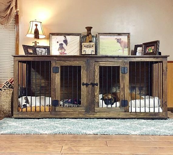 Large DOUBLE Handcrafted Dog Crate looks like furniture rather than the ugly wire dog crate or plastic dog kennel. We offer your Handcrafted Custom Canine Condo in a Two Bedroom model (with the optional divider) or an Open Greatroom Concept in small, medium, large, extra large. #DogKennels