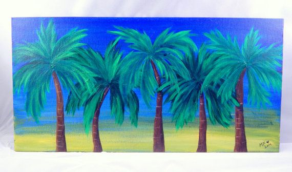 Palm Tree Painting - Ocean Art - Beach - Tropical - Tropics - Row of Palm Trees - Island Time - Caribbean - Sunset - Sunrise - Vacation