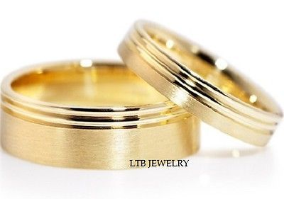 10K Yellow Gold Matching His Hers Wedding Bands Rings Mens Womens Set | eBay