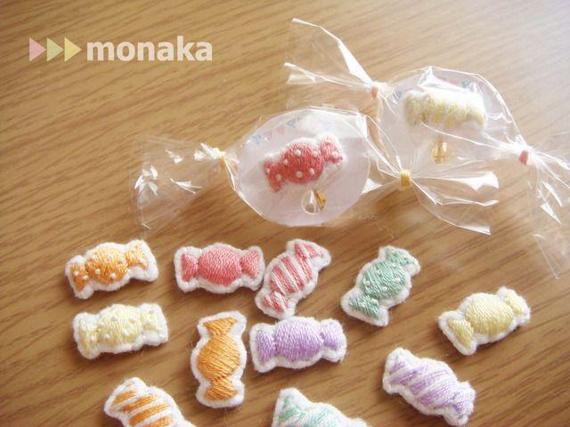 ハンドメイドマーケット minne(ミンネ)  フルーツキャンディの刺繍イヤリング(片耳)