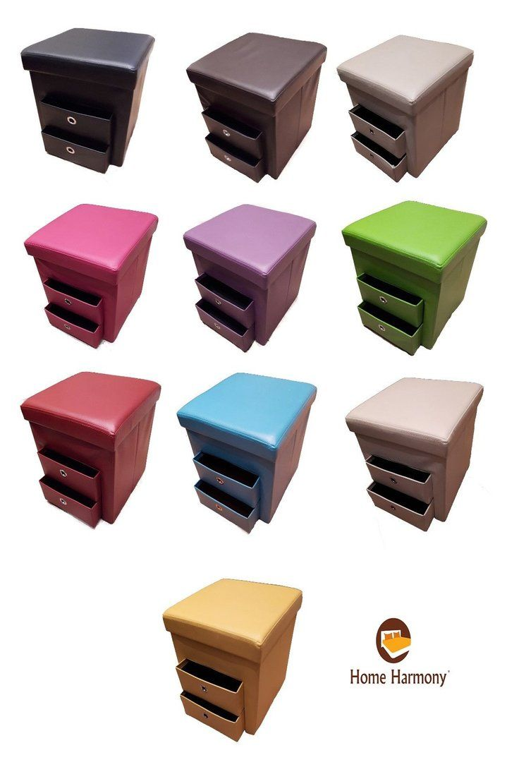 New Folding Ottoman With 2 Pull Out Drawers Compartment Storage Box Faux Leather Ebay Folding Ottoman Pull Out Drawers Storage Box