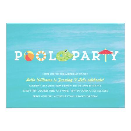 Fun Birthday Pool Party Invitation Invitations