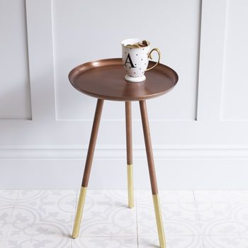 Copper Table With Brass Tipped Legs