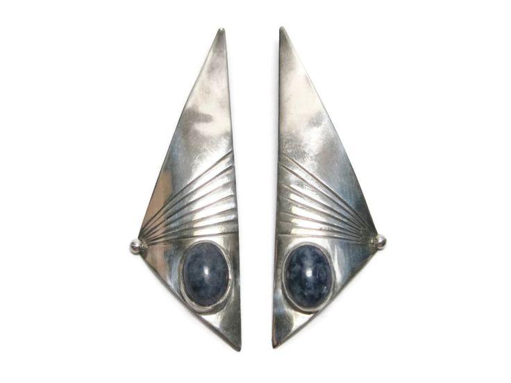 Large Vintage Sterling Denim Lapis Earrings - pinned by pin4etsy.com
