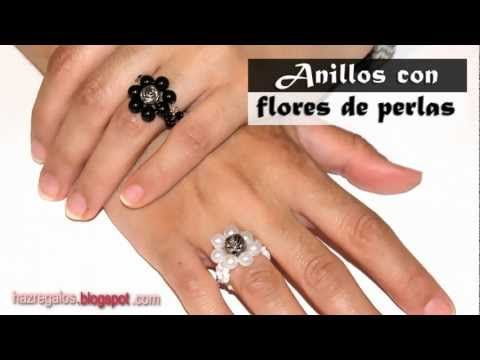 Anillo con Flores de Perlas - DIY - Bead Flower Ring - YouTube                                                                                                                                                                                 Más