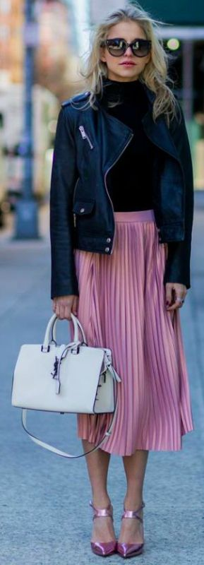 Caroline Daur + cute and pretty + pleated skirt trend + pink midi skirt + polo neck top + cropped leather jacket   Pullover: Vila via Edited, Jacket: Edited, Skirt/Shoes: Asos, Bag: YSL.
