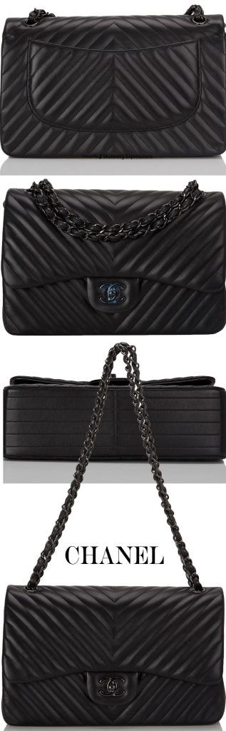 Chanel Black Chevron Jumbo Classic Double Flap Bag