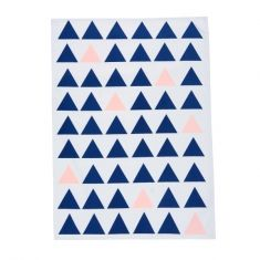 Navy and pink triangle tea towel
