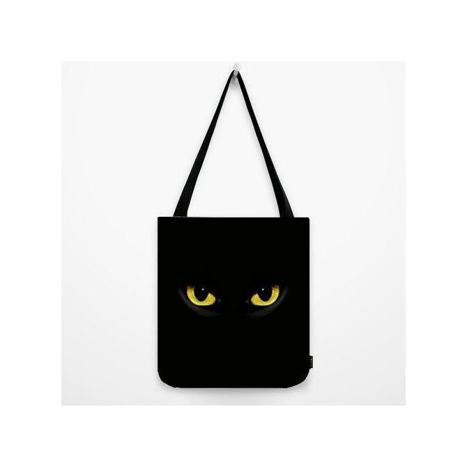 Yellow-eye #Black #Cat #Shopper Tote #Bag