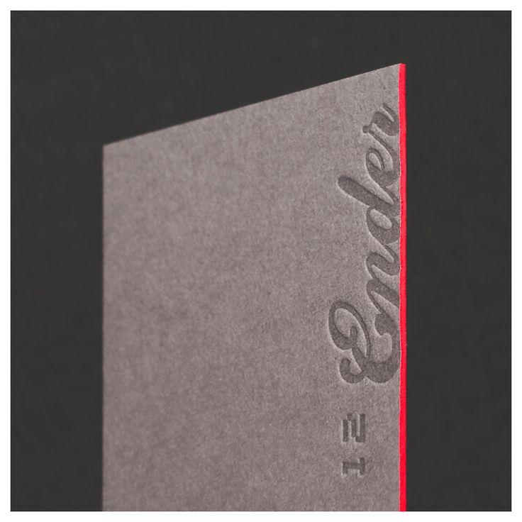 12ender Letterpress Geschäftskarte mit Farbschnitt in Neonorange. www.12ender.de