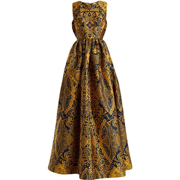 Mary Katrantzou Shaw sleeveless Cards-jacquard gown ($2,498) ❤ liked on Polyvore featuring dresses, gowns, gold multi, navy gown, floral print dress, flower print dress, navy blue floral dress and navy floral dress