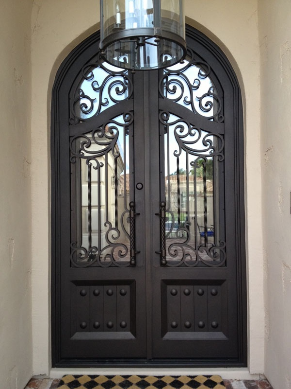 Doors Iron Front Doors With Doors In Black Color And The Light On It Iron  Front Doors Are Best Door Design In Elegant And Safety Design Black. Wrought  For ...