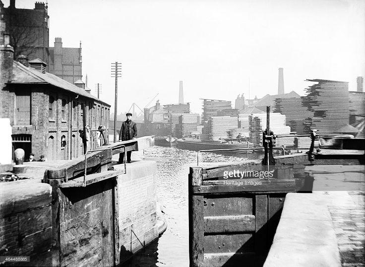 The industrial landscape on the Regent's Canal, London, c1905. The Regent's Canal, connecting the Paddington Canal and the Thames at Limehouse, was opened in 1820. The canal cost £772,000 to construct, twice the amount originally estimated. In 1929 the Regent's Canal Company purchased the Grand Junction and Warwick Canals, merging the three waterways to create the Grand Union Canal.