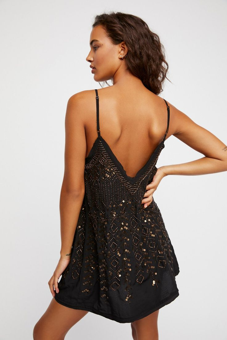 Intimately Black Combo Arizona Nights Embellished Slip at Free People Clothing Boutique