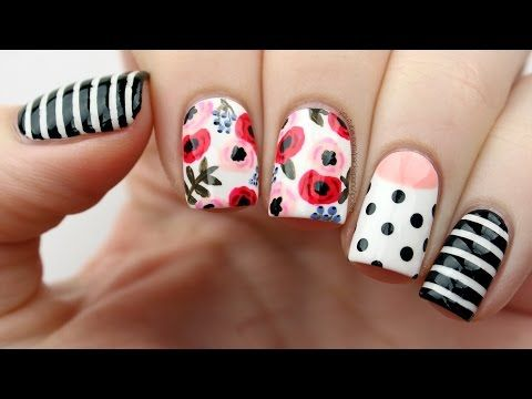 Floral Mix & Match Nail Art Tutorial - YouTube