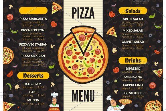 Pizzeria Menu Template Italian S Izobrazheniyami Dizajn Menyu Menyu