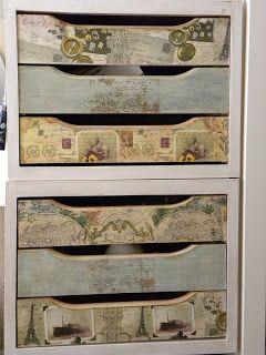 Cajonera de ikea tuneada con decoupage, aguadas y sellos.