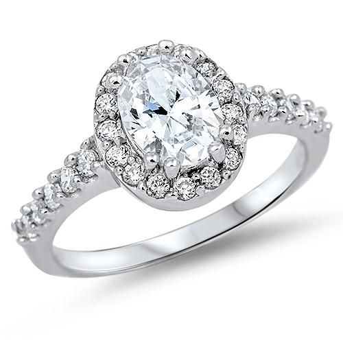 A Classic 2.9CT Oval Cut Russian Lab Diamond Halo Engagement Ring