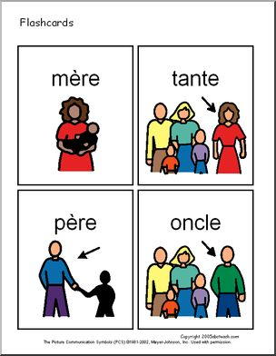 Printable flashcards in french!! Great for future french teachers (family, colours etc)