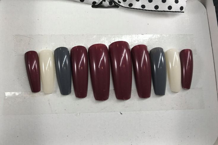 Press On Nails, Fake Nails, Glue On Nails, Artificial Nails, Acrylic Nails, Ballerina, Long Length, Deep Mauve/Grey/White by PolishedBySueann on Etsy