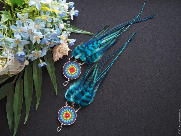 Тайна неба - радужные длинные серьги с перьями бохо с ловцом снов - серьги с перьями