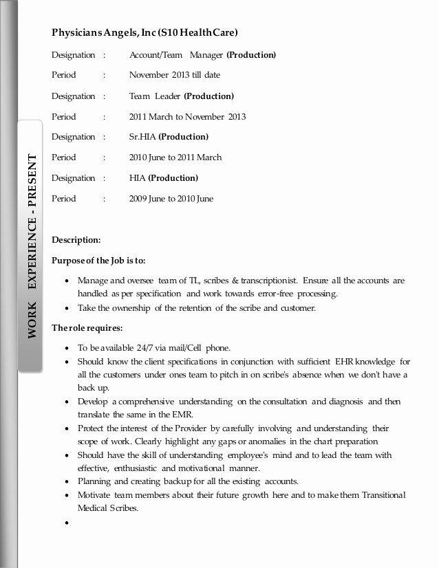 Medical Scribe Job Description Resume Fresh Abraham Resume Medical Scribe Job Description Teacher Resume Examples