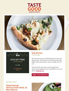23 best restaurant email newsletters images on pinterest for E blast templates free