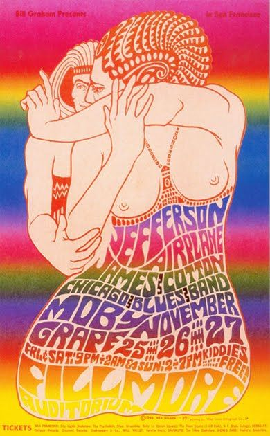 Vintage, Retro, Hippie poster - beautiful art design, Jefferson Airplane classic rock concert.