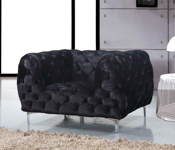 mercer black velvet chair