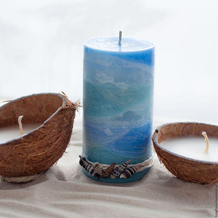 """Купить Набор свечей """"Голубая лагуна"""" - голубой, Свечи, свечи ручной работы, интерьерные свечи"""