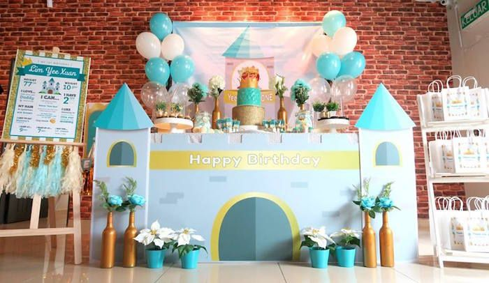 Prince party table from a Royal Prince First Birthday Party on Kara's Party Ideas | KarasPartyIdeas.com (9)