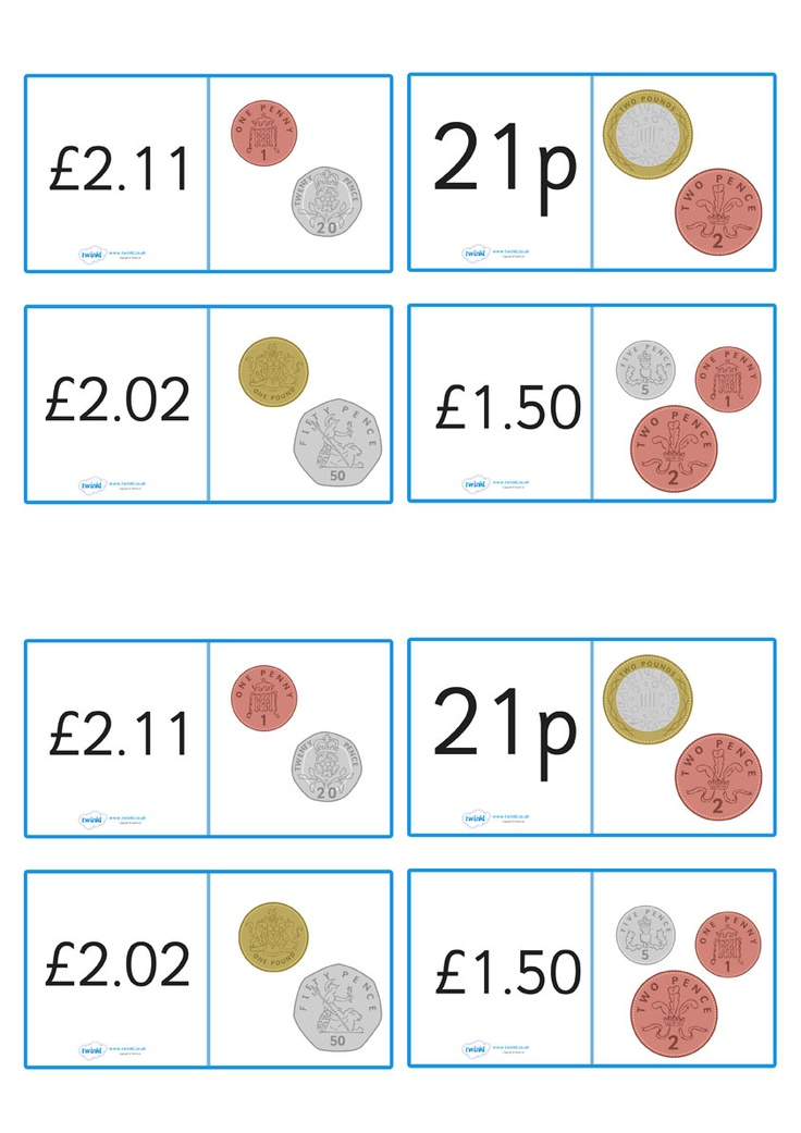 British Coin Value Loopcards - Pop over to our site at www.twinkl.co.uk and check out our lovely Numeracy primary teaching resources! numeracy, maths, coins #Numeracy #Numeracy_Resources