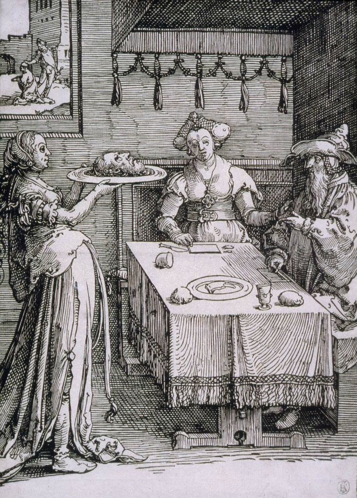 The Daughter of Herodias Presenting the Head of John the Baptist to Herod and Herodias (Block 6 from a series of 6) (1516-19)