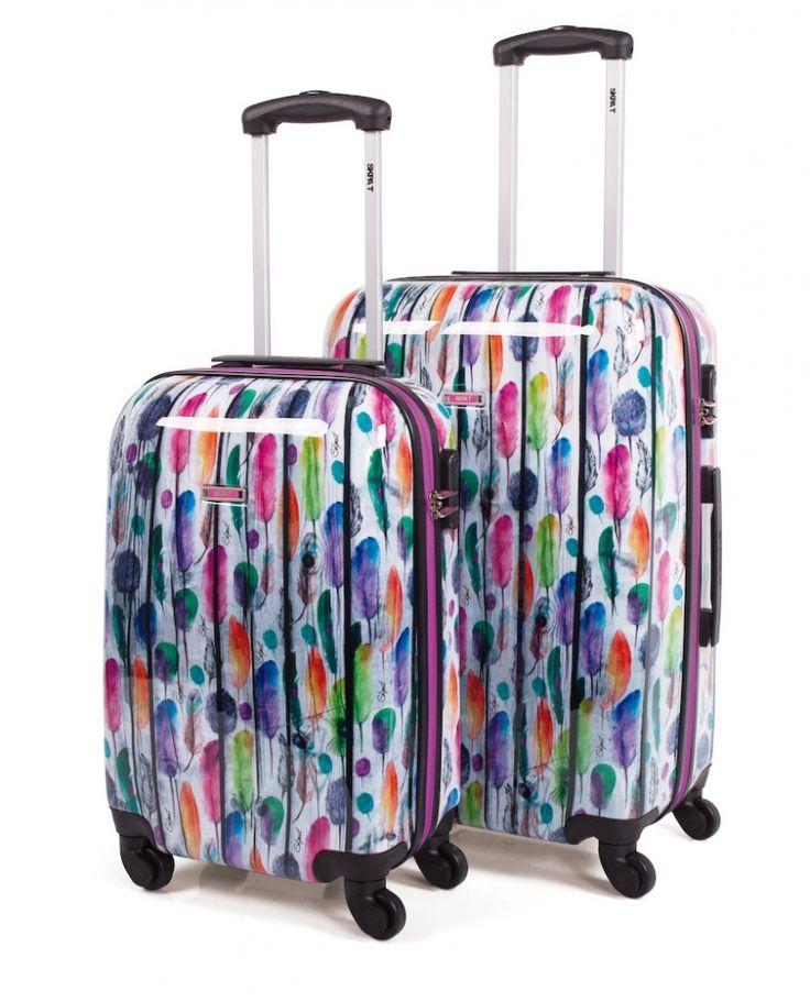 Juego de maletas rígidas de Skpa-t con plumas de colores