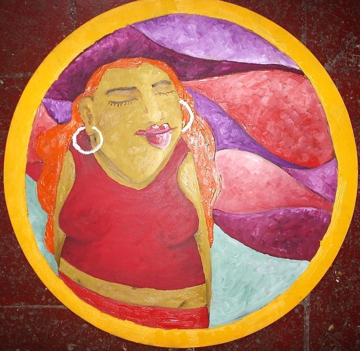 serie dins del cercle, ella, oli sobre fusta, 60cm. 2009