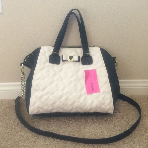 Betsy Johnson black and white quilted purse Brand new never used with tag  Betsey Johnson Bags 2947d36bfd