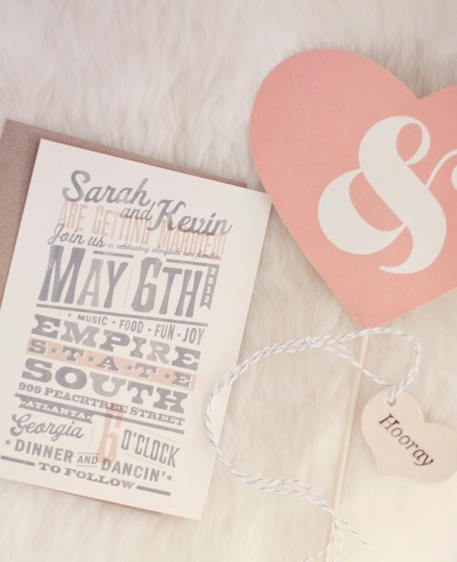 Modern Pink Invitations // Photo: Our Labor Of Love // Planning: We Tie the Knots